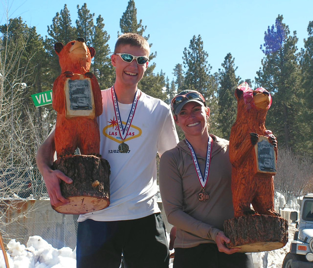 Fastest Bears Ted Devito and Kim Williams, local winners of the first-ever Snowshoe the Bear