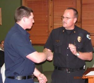 "In presenting PCF Justin Fluke with the Lifesaver Ribbon, BBC Fire Chief Jeff Willis said, ""I congratulate you. You served us well."""