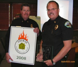 CalFire Deputy Chief presents the Firewise Communities/USA distinction to Big Bear City Fire Chief Jeff Willis