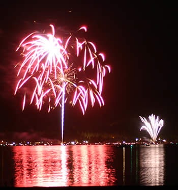 Fireworks over Big Bear Lake