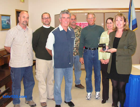 The Lighthouse Project receives the Champion of the Community Award at this week's Recreation and Park District Advisory Commission meeting. Pictured (from left): the Lighthouse's Michael Perry, Randall Putz and Tim Wood, Commissioners Don Pletcher, Don Allen and Katheryn Poole, and Lighthouse Director Beth Gardner.
