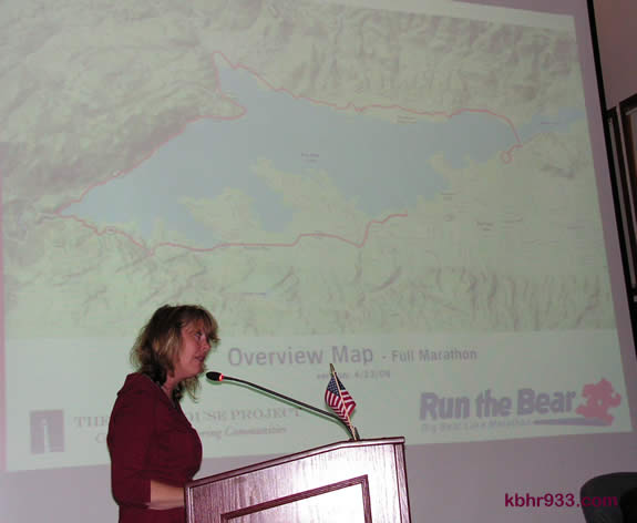 The proposed Run the Bear marathon map, as introduced by the Lighthouse Project's Beth Gardner