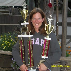 Director Rizzo with 1st and 2nd place trophies won by BVUSD music students in April.