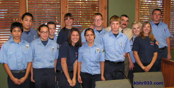 Firefighter Bob Barnett of the Big Bear City Fire Department and the Fire Explorers in October, when they were honored by the Community Services District.