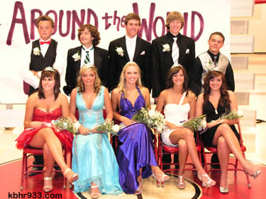 The 2009 Prom Court (from left, front): Andi, Sarah, Allix, Lindsay and Kasey and (back) Preston, Nick, Scott, Miles and Cody.