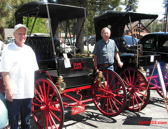 A rare treat for car aficianados was the side-by-side display of two vehicles made by Sears which once retailed for $395. At left is Ken Carlson of Big Bear City with his 1910 version and, at right, Earnie Lawyer of Running Springs with Sears' 1911 model.