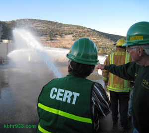 CERT members get to learn fire suppression techniques.