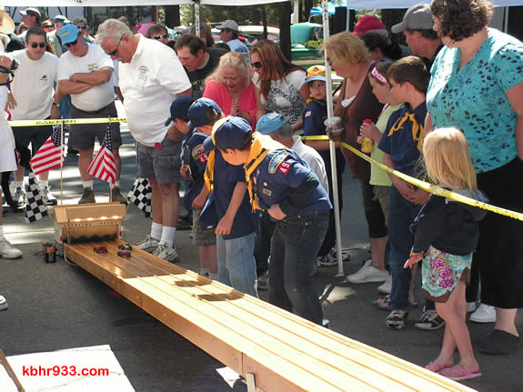 The Pinewood Derby is an annual event at the car club's Memorial Day weekend Show and Shine.
