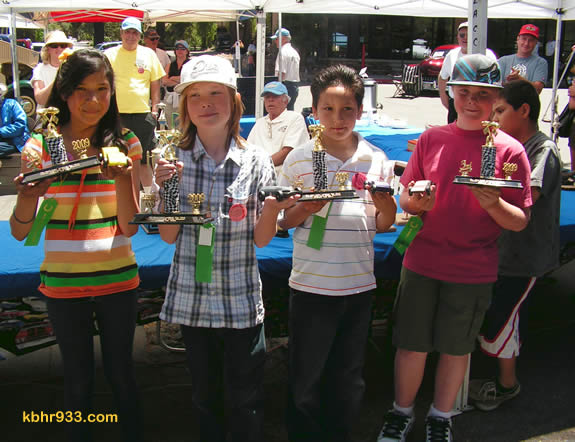 The fastest derby cars in the 5th grade competition were those made by (from left) Mariana Salazar, Ty Ewalt, Marcus Velasquez and Trevor Morrison.
