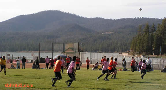 "The current soccer field in use for BBVRPD's soccer league is lakeside at Meadow Park, but also doubles as a baseball field. (Here, the ""Orange Team"" plays the soccer team sponsored by Hacienda Grill in the first game of the season, on May 3. The pink team won.)"