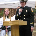 CalFire Chief Mary Stock thanked those at St. Joseph's, who held bake sales to help pay for the new plaques.