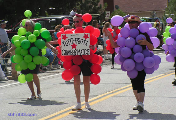 The Big Bear Chamber's Chambermaids looked grape in their tutti-frutti ensembles, also in the Doo Dah.