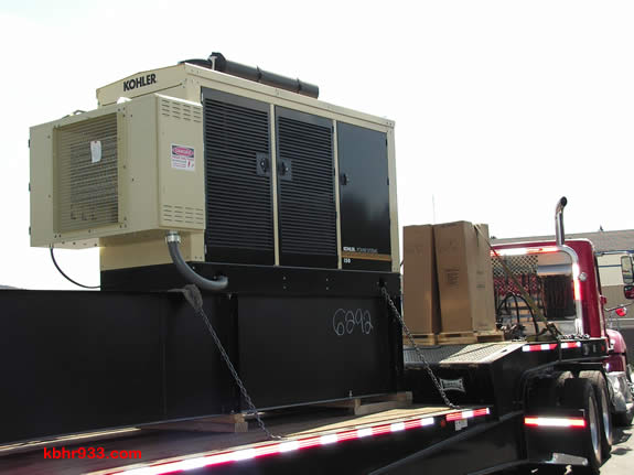 The airport's new generator, being installed today, will keep runway lights and the fueling station in operation should there be an emergency.