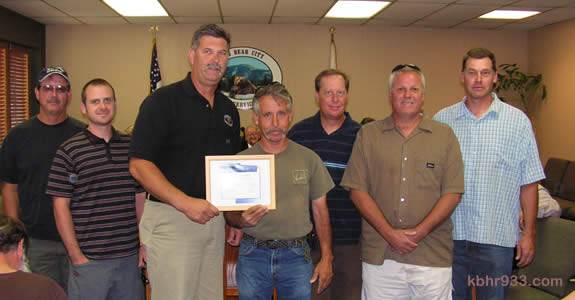 The award-winning Water Department of the Big Bear City Community Services District: (from left) Randy Stitt, Jerry Griffith, Tim Moran, Ralph Mussela, Greg Ricketts, Joe Saali and Ralph Marquardt.