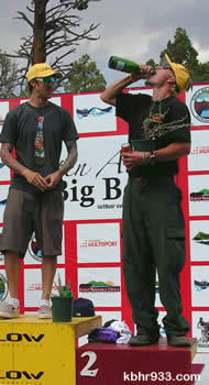 Local and USFS firefighter David Dolezal (right) celebrates his second place finish alongside top competitor Phil Tinstman.