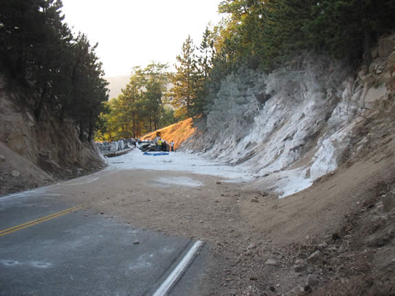This portion of Highway 330 is just west of Live Oak Drive, below the upper passing lane.