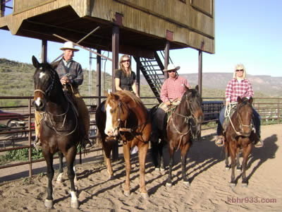 "The ""horse whisperer"" Buck Brannaman and Paul Dietz (third from left) with Los Vaqueros' Suzanne Hodges and Kathy Armsby in New River, Arizona this year. Hodges tells KBHR, ""To be able to ride with Paul and Buck was such an honor."""