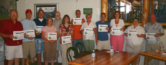 These individuals (and CERT members) made up the biggest class in the radio club's technician class amateur radio license test--and all 15 passed.