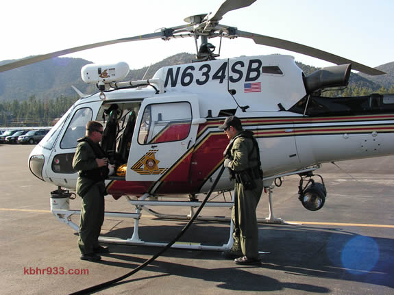 Two Sheriff's helicopters, with diving teams, were dispatched to Big Bear Lake to assist in the rescue operation this afternoon. The helicopter from Apple Valley (the other is from Rialto) is, here, fueling up at the Big Bear Airport in the 5 o'clock hour before returning to the rescue operation on Big Bear Lake's north shore.