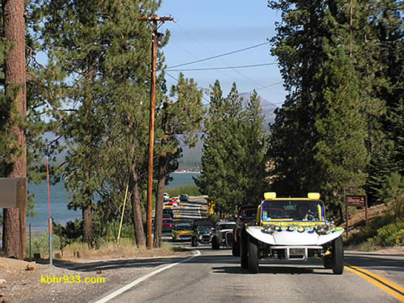During Fun Run's lake cruise, over 500 cars will caravan around Big Bear Lake--as seen here, taken from the second car, in the 2007 event.