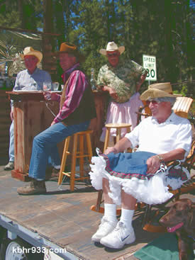 The Kiwanis Club float earned high marks in the humor category, given appearances by Neal Hertzman and Curt Bryant in skirts.