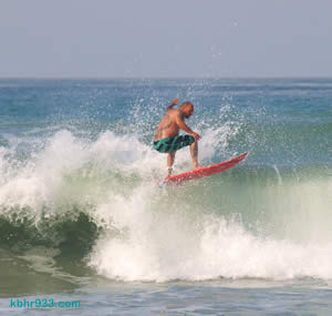 Local surfer Pat Allen takes a wave at San Onofre