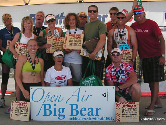 The Bear is conquered: The final crew of Conquer the Bear assembles for one last time this season, accompanied by event co-organizers Karen Lundgren (in front) and Paul Romero (far right).