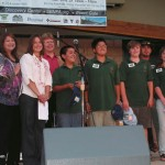 The SBNFA's new Deputy Director Alison Bates (second from left) is joined by Ann and Jim Curry and Marco Guzman (second from right) in recognizing local youth volunteers B.J. Negrete, Noah Cooke, William Elbert and Pearl Craig during the Labor Day weekend finale of the Music in the Mountains concert series.