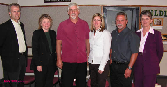 DWP staff was on hand to answer questions at Wednesday's town hall meeting; (from left) General Manager Joel Dickson, Administrative Manager Dani McGee, Water Resource Manager Bill LaHaye, Water Conservation Specialist Michele Mrosek, Water Superintendent Steve Wilson, and Administrative Manager Diane Muir.