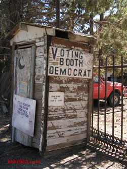 "Ransom's voting booth and Ransom Engineering truck remain on his North Shore property; Art Poland says, ""Of course, he had his big yard out there with equipment, and he had the things that people needed."""