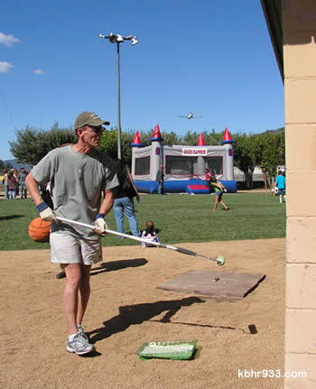 The County's Director of Special Districts Jeff Rigney drove up from Lake Arrowhead Saturday morning, to help in the Big Bear City Park work party.