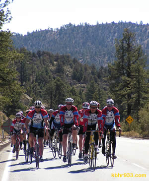 Local cyclists rode to Onyx Summit, at 8,443 feet, on Highway 38 as part of yesterday's official announcement event.