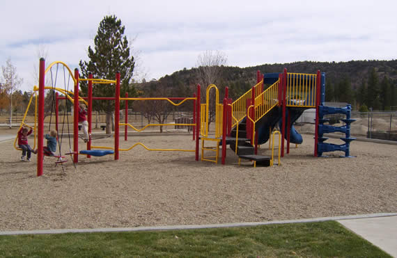 BBVRPD staff completed installation of the new playground equipment yesterday--and, as soon as the wood chips were down, these children started enjoying the new features. (Photo courtesy BBVRPD)