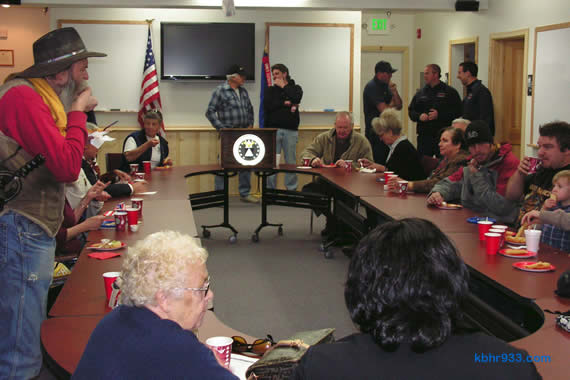 Firefighting agencies, law enforcement personnel, government officials and volunteers came together for cake in the EOC's first floor conference room, following the dedication ceremony on Thursday afternoon.