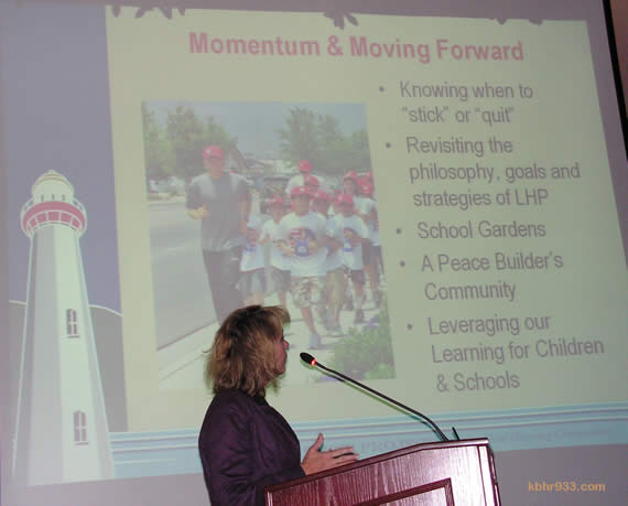 Beth Gardner of the Lighthouse Project explains that they plan to channel their momentum from the 2008 Move a Million Miles for Ryan Hall campaign (pictured on PowerPoint) and the Run the Bear Marathon into a 2011 run around Big Bear Lake billed as Run Ryan's Run--rather than organizing another marathon. The non-profit also plans to refocus their energies on building a child-honoring community.