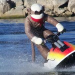 World Champion Jet Ski Rider Chris MacClugage Dons a Sock Monkey Suit on Big Bear Lake Today