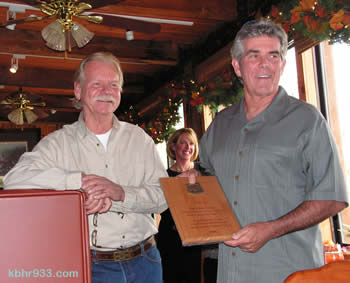 Tim Wood's financial commitment to the Music in the Mountains concert series was recognized with a national USFS award, which was presented by the forest's Recreation Supervisor Paul Bennett (and SBNFA's Sarah Miggins, in background).