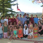 "Thirteen Big Bear families hosted 13 students from Abtenau, Austria in July 2007, and here the 26 ""exchange buddies"" reunite for a lakeside BBQ. This summer, 15 Big Bear students, ages 11 to 14, spent three weeks in Austria through the Sister City program."