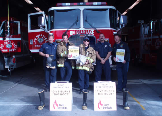 "The Big Bear Lake Professional Firefighters' Association, which collected funds for burn victims in the ""Give Burns the Boot"" drive, is part of the San Bernardino County Professional Firefighters Local 935 and International Association of Firefighters, and is dedicated to ensuring the well-being of those who serve and protect others."