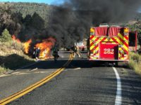 Car Fire On Highway 18 Causes Minor Brush Fire