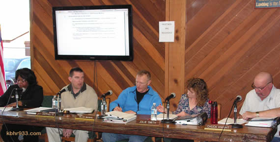 "The Airport District Board (from left): Gloria Ann Greene, President Jay Obernolte, Butch Waymire, Vice President Julie Smith, and Chuck Knight--and their new, public-friendly computer monitor, for use during meetings. During Public Comment at the January 6 meeting, the Community Service District's Marge McDonald made many suggestions; among them, ""Please adopt a dress code for your board."" Just-elected President Obernolte said they would agendize the topic for discussion at their February meeting."