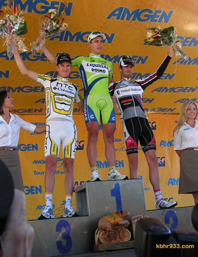 The top three from among 16 teams of professional cyclists in stage 6, the Big Bear Climb: (from left) Michael Rogers, Peter Sagan and Rory Sutherland.