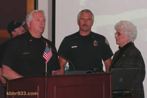 Big Bear Lake Fire Captain John Arden (third from left, with Firefighter David Jayne, Chief Rod Ballard and Mayor Liz Harris) was celebrated for his contributions to the department over 20 years.