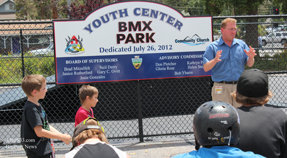 Supervisor Neil Derry remarks about the Big Bear BMX Park grand opening.