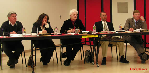 "BVUSD's Board of Trustees Ken Turney, Debra Sarkisian, Beverly Grabe, Randall Putz and Paul Zamoyta, during last night's school board meeting in the new BBMS cafeteria, are faced with some tough decisions as they try to eliminate $980,000 from BVUSD's budget through the 2010/2011 school year. As Walter Con, the district's Director of Business Services, said, ""We're running out of things to cut; we're getting so close to the bone, there's no meat left."""