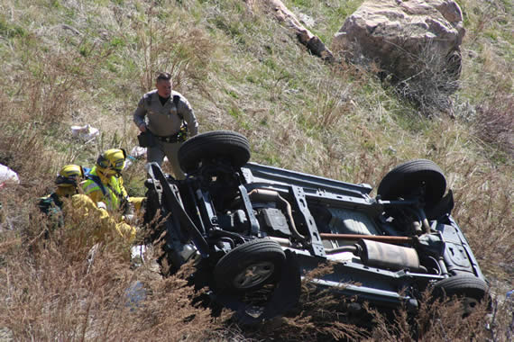Crestline resident David Bokor was the only occupant of the Jeep, which rolled about 200 feet down the hillside. Those with any information about the incident are asked to call 867-2791. (Photos courtesy CHP)