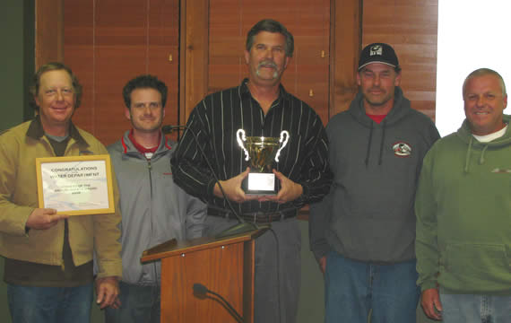 The award-winning team of the CSD Water Department (from left): Greg Ricketts, Jerry Griffith, Superintendent Tim Moran, Ralph Marquardt and Joe Saali.