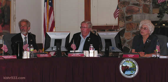 "City Council's Michael Karp, Bill Jahn and Liz Harris listen to public comment regarding the Jeffries Road project, though the public hearing had been pulled at the start of the meeting; the termination agreement did remain on the agenda. Jahn, who chairs the Improvement Agency, told the audience, ""The agency is only a financing vehicle. We'd still be under the same requirements of the state."""