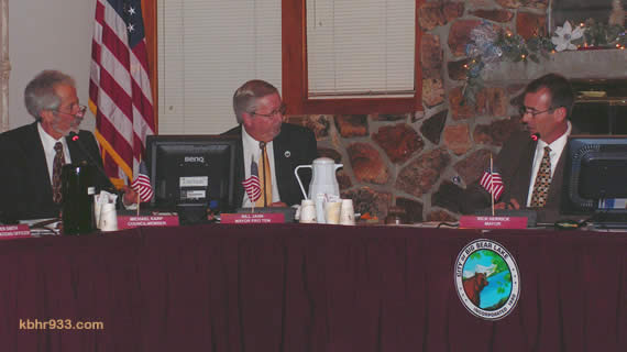 Councilmembers Michael Karp, Bill Jahn and Rick Herrick on the dais, during the discussion that ultimately led to the election of Liz Harris as the City's new mayor.