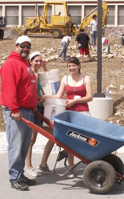 BBHS Principal Mike Ghelber and students at Saturday's work party